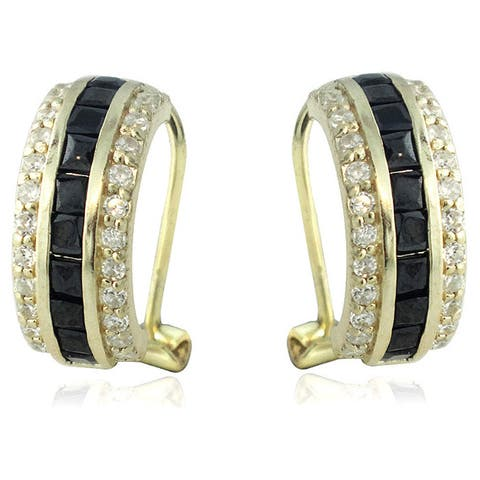 Icz Stonez Gold over Sterling Silver Cubic Zirconia Earrings