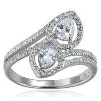 Icz Stonez Sterling Silver Cubic Zirconia Engagement Twist Ring