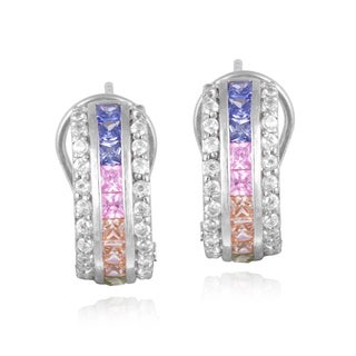 Icz Stonez Sterling Silver Multi-colored Cubic Zirconia Earrings