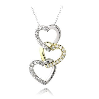 Icz Stonez Two-tone Cubic Zirconia Triple Heart Necklace