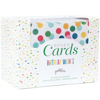 """Pebbles A2 Cards & Envelopes (4.25""""X5.5"""") 40/Pkg-Birthday Wishes"""