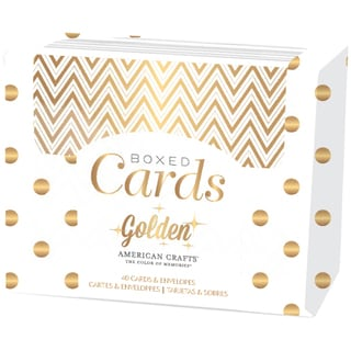 "American Crafts A2 Cards & Envelopes (4.25""X5.5"") 40/Pkg-Golden-Gold Foil"