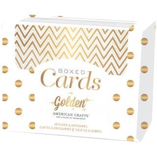 """American Crafts A2 Cards & Envelopes (4.25""""X5.5"""") 40/Pkg-Golden-Gold Foil"""