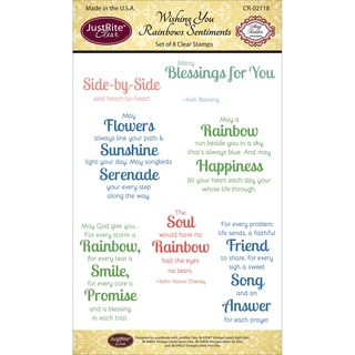 """JustRite Papercraft Clear Stamp Set 4""""X6""""-Wishing You Rainbows"""