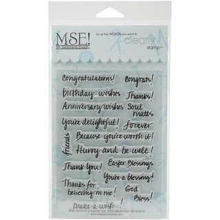 """My Sentiments Exactly Clear Stamps 4""""X6"""" Sheet-Handwritten Sentiments"""