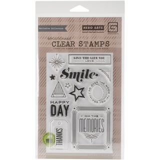 Basic Grey Aurora Clear Stamps By Hero Arts-Happy Day