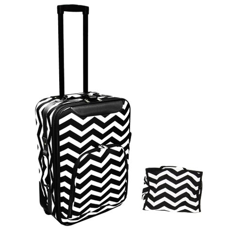 World Traveler 2-Piece Chevron Carry On Luggage Set