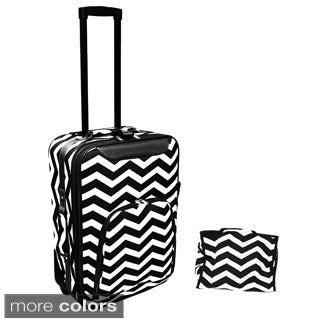 World Traveler 2-Piece Chevron Carry On Luggage Set
