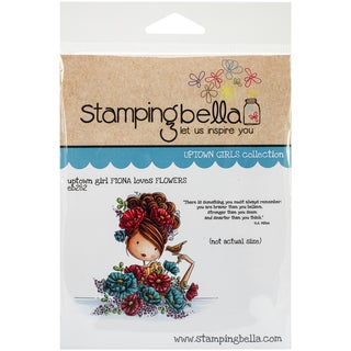 "Stamping Bella Cling Rubber Stamp 3.75""X5""-Uptown Girl Fiona Loves Flowers"