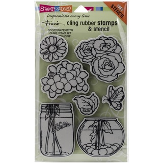 "Stampendous Fran's Cling Stamp & Stencil Set 7""X5"" Sheet-Build A Bouquet Set"