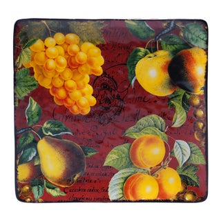 Hand-painted Botanical Fruit 12.5-inch Square Platter