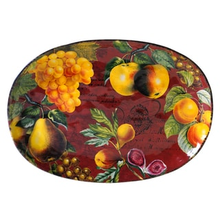 Hand-painted Botanical Fruit 17-inch Oval Platter