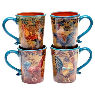 Rustic Rooster 16-ounce Mug (Set of 4)
