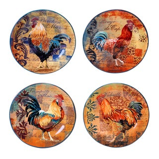 Rustic Rooster 8.75-inch Salad/ Dessert Plate (Set of 4)