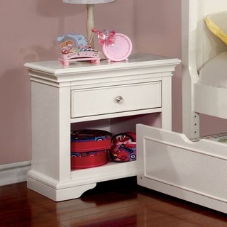 Furniture of America Elegant Tiana White Nightstand
