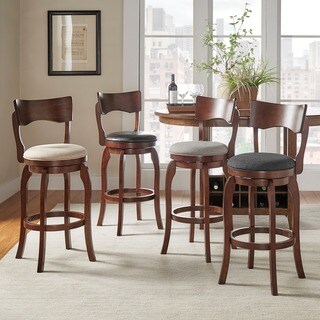 Lyla Swivel 29-inch Brown Oak High Back Bar Height Linen Barstool by iNSPIRE Q Classic