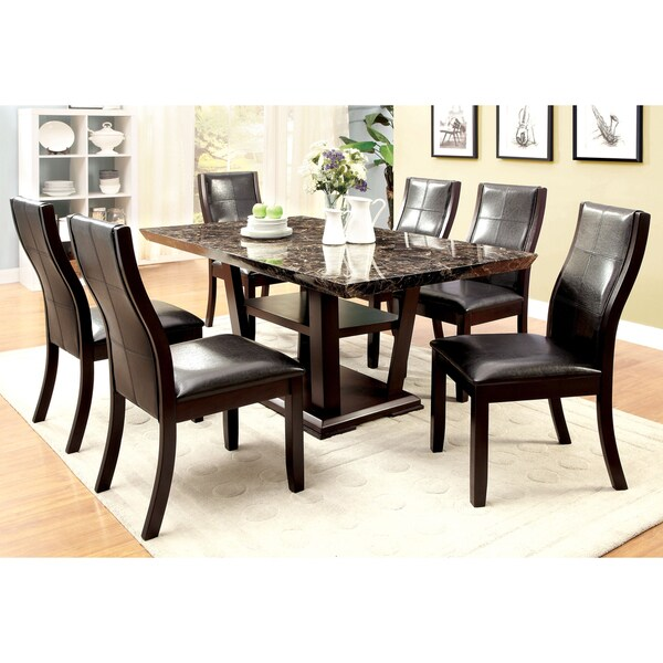 Furniture of america elivia modern faux marble dining for Dining room tables home goods