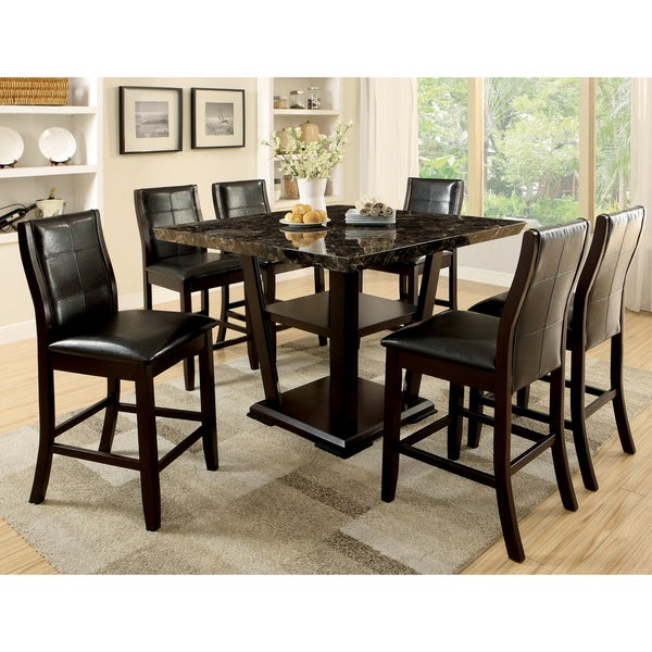 7 Piece Counter Height Dining Room Sets: Shop Elivia Modern Dark Cherry 7-piece Counter Height