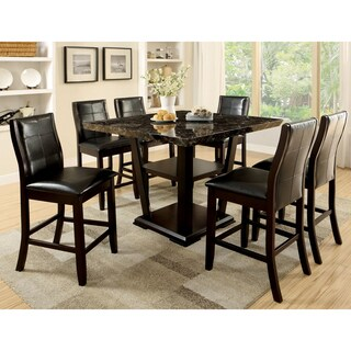 Furniture of America Elivia Modern 7-piece Faux Marble Counter Height Dining Set