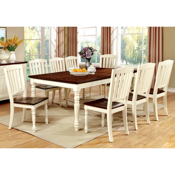 Furniture of america bethannie cottage style 2 tone dining for Cottage style furniture
