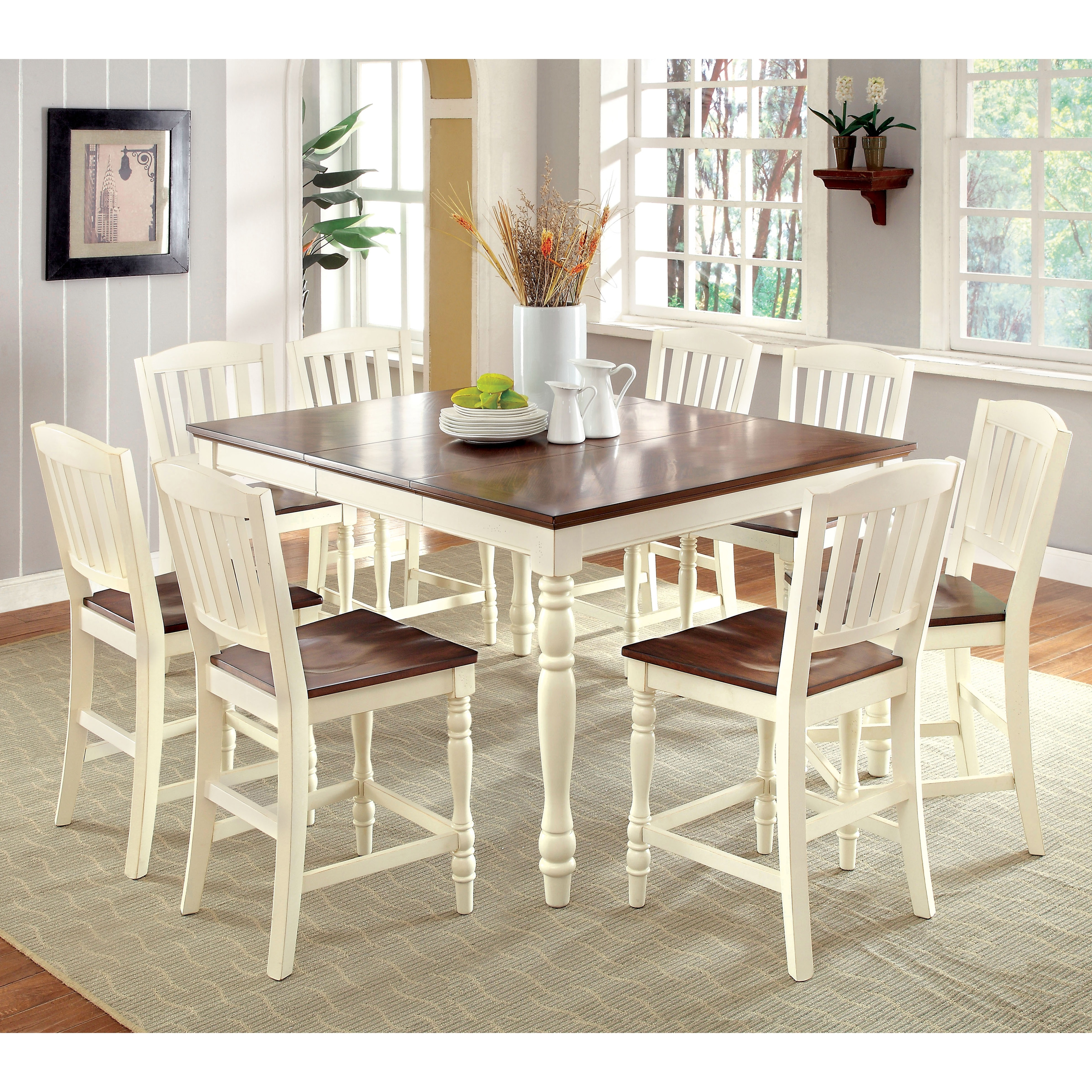 Furniture of America Bethannie 9-Piece Cottage Style Coun...