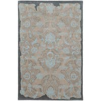Hand-tufted Eroded Grey/ Blue Oriental Rug (10' X 13')