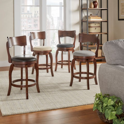Lyla Swivel 24-inch Brown Oak Counter Height Linen Barstool by iNSPIRE Q Classic