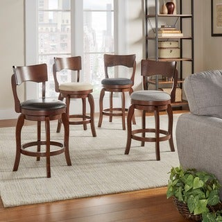 Lyla Swivel 24 Inch Brown Oak Counter Height Linen Barstool By INSPIRE Q  Classic