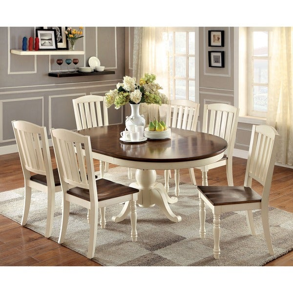 Furniture Of America Bethannie Cottage Style 2 Tone Oval Dining Table Cream