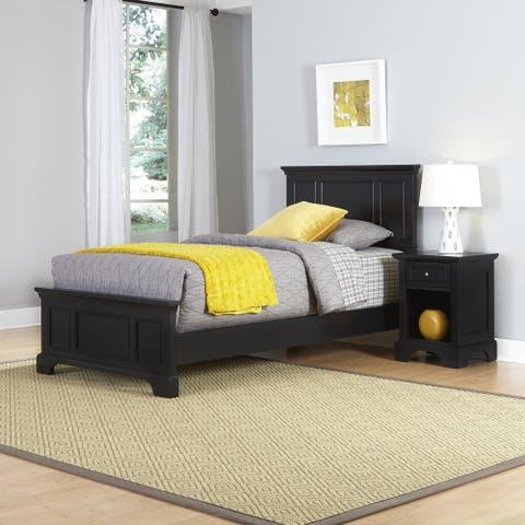 Porch & Den Bell Bridge Black Twin Bed and Nightstand Set