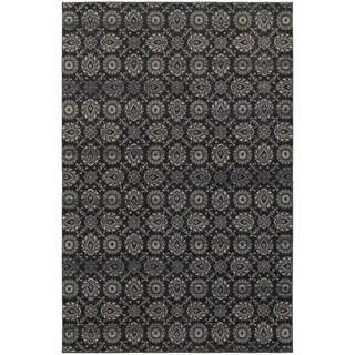 "Floral Navy/ Grey Oriental Rug (3'10 X 5'5) - 3'10"" x 5'5"""