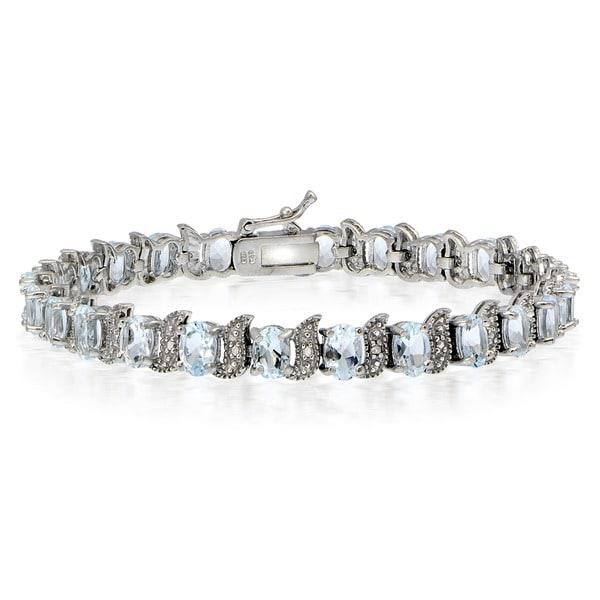 Glitzy Rocks Sterling Silver Aquamarine Diamond Accent 'S' Design Bracelet