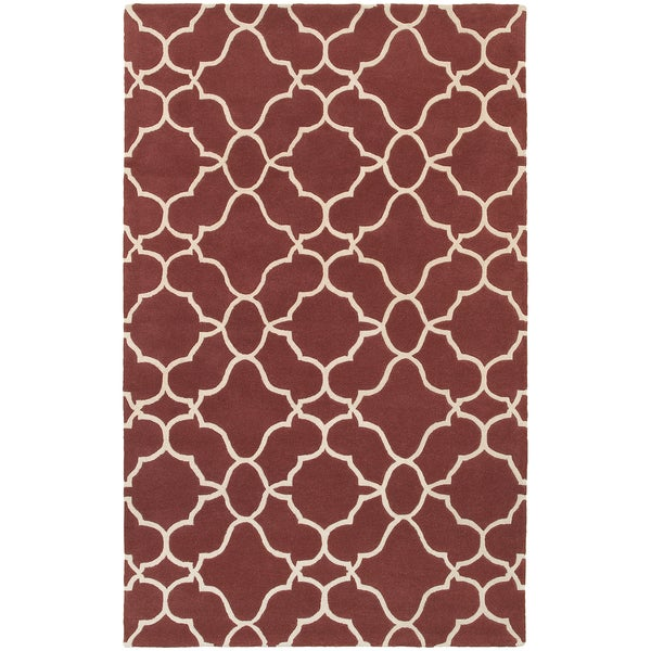 "Hand-crafted Wool Ornate Lattice Wine Red/ Ivory Wool Rug (3'6 x 5'6) - 3'6"" x 5'6"""