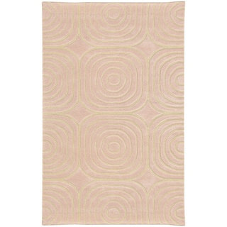 Hand-crafted Wool Soft Geometric Pale Pink/ Ivory Wool Rug (3'6 x 5'6)