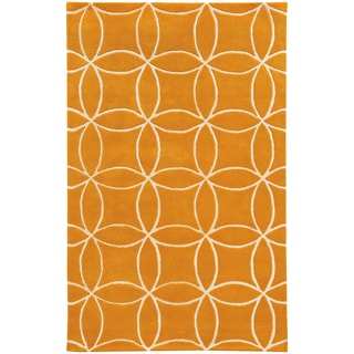 Hand-crafted Wool Inter-locking Circles Orange/ Ivory Wool Rug (3'6 x 5'6)
