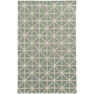 Hand-crafted Wool Triangle Grid-work Grey/ Ivory Rug (3'6 x 5'6)