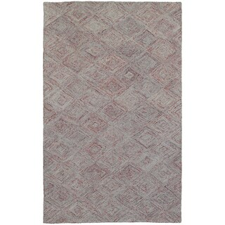 Pantone Universe Colorscape Loop Pile Faded Diamond Rust/ Grey Wool Rug (3'6 x 5'6)
