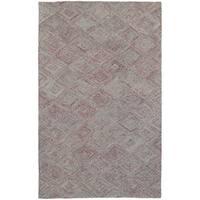 Pantone Universe Colorscape Loop Pile Faded Diamond Rust/ Grey Wool Rug - 3'6 x 5'6