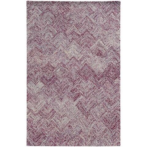 Pantone Universe Colorscape Loop Pile Faded Diamond Purple/ Purple Wool Rug