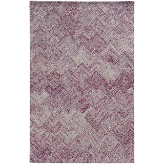 Pantone Universe Colorscape Loop Pile Faded Diamond Purple/ Purple Wool Rug (3'6 x 5'6)
