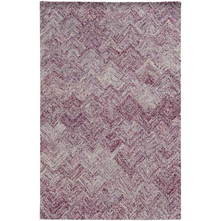 Pantone Universe Colorscape Loop Pile Faded Diamond Purple/ Purple Wool Rug