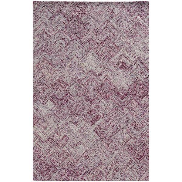 "Pantone Universe Colorscape Loop Pile Faded Diamond Purple/ Purple Wool Rug (3'6 x 5'6) - 3'6"" x 5'6"""