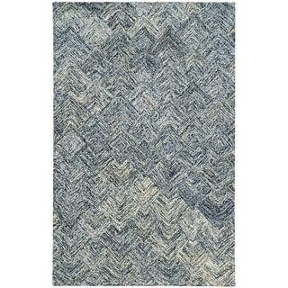 Pantone Universe Colorscape Loop Pile Faded Diamond Charcoal/ Beige Wool Rug (3'6 x 5'6)