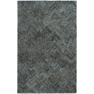 Pantone Universe Colorscape Loop Pile Faded Diamond Charcoal/ Blue Wool Rug (3'6 x 5'6)