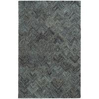 Pantone Universe Colorscape Loop Pile Faded Diamond Charcoal/ Blue Wool Rug