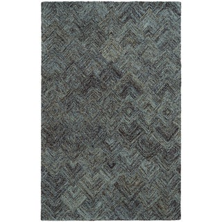 "Pantone Universe Colorscape Loop Pile Faded Diamond Charcoal/ Blue Wool Rug (3'6 x 5'6) - 3'6"" x 5'6"""