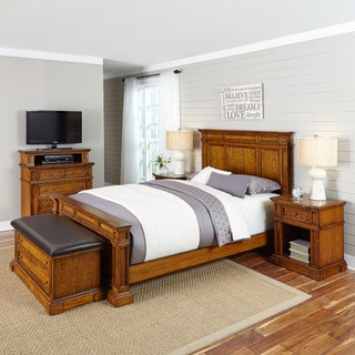 Home Styles Americana Distressed Oak Bed, Two Night Stands, Media Chest, and Upholstered Bench