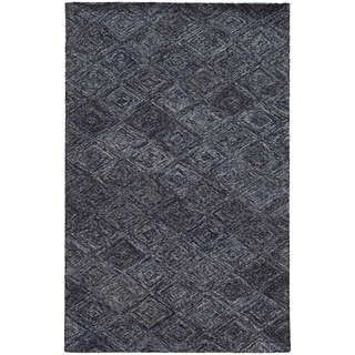 Pantone Universe Colorscape Loop Pile Faded Diamond Blue/ Grey Wool Rug (3'6 x 5'6)