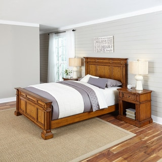 Home Styles Americana Distressed Oak Bed and Two Night Stands