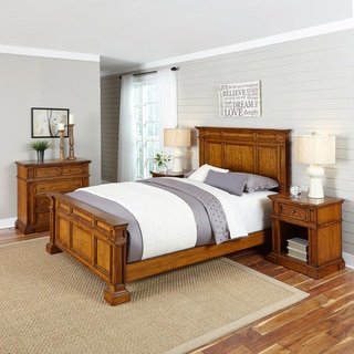 Home Styles Americana Distressed Oak Bed, Two Night Stands, and Chest